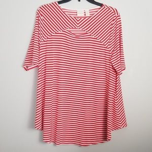 Chico's Red Striped Tunic Top Size 2